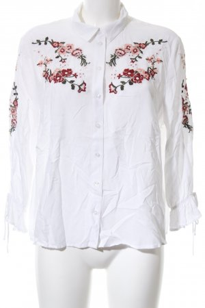 H&M Divided Langarm-Bluse weiß Blumenmuster Business-Look