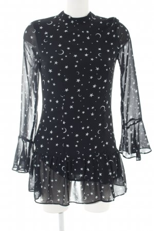 H&M Divided Langarm-Bluse schwarz Allover-Druck Casual-Look