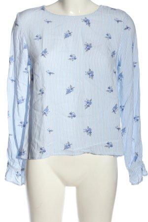 H&M Divided Langarm-Bluse blau-weiß Allover-Druck Casual-Look