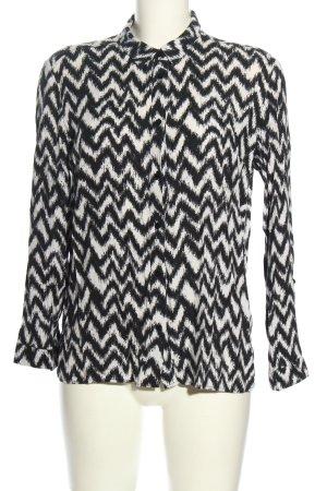H&M Divided Langarm-Bluse schwarz-weiß Allover-Druck Business-Look