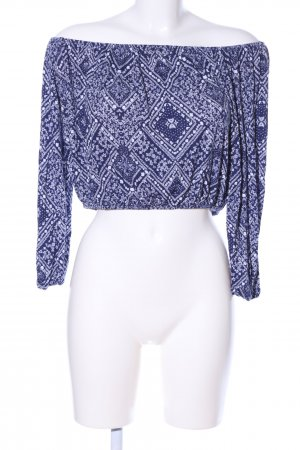 H&M Divided Langarm-Bluse blau-weiß grafisches Muster Casual-Look