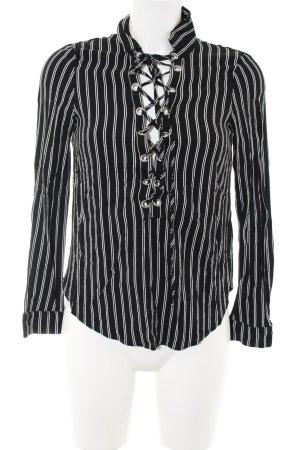 H&M Divided Langarm-Bluse schwarz-weiß Streifenmuster Casual-Look