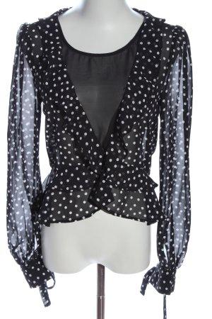 H&M Divided Langarm-Bluse schwarz-weiß Allover-Druck Casual-Look
