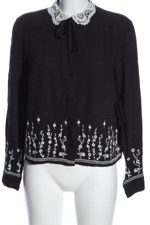 H&M Divided Langarm-Bluse schwarz-weiß Blumenmuster Casual-Look