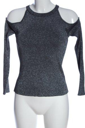 H&M Divided Langarm-Bluse blau-silberfarben Streifenmuster Casual-Look