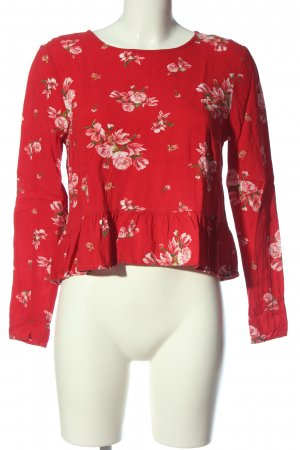 H&M Divided Langarm-Bluse rot-pink Allover-Druck Casual-Look