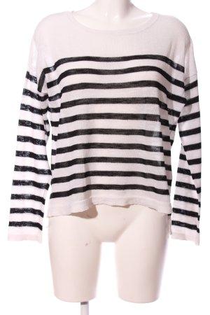 H&M Divided Langarm-Bluse weiß-schwarz Streifenmuster Casual-Look