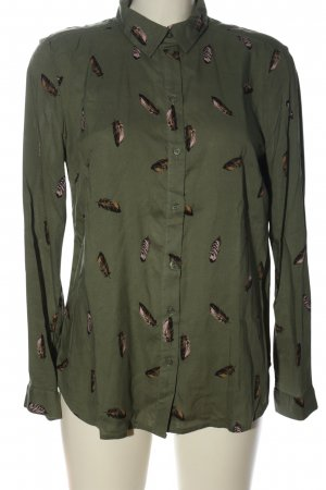 H&M Divided Langarmhemd khaki-braun Allover-Druck Casual-Look