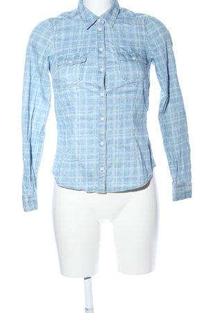 H&M Divided Langarmhemd blau-weiß Karomuster Casual-Look