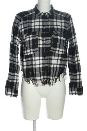H&M Divided Langarmhemd schwarz-weiß Allover-Druck Casual-Look