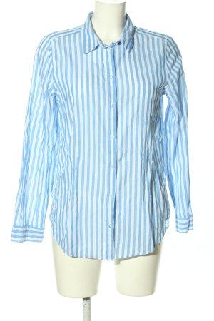 H&M Divided Langarmhemd blau-weiß Allover-Druck Business-Look