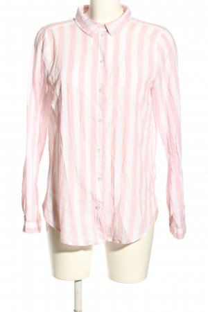 H&M Divided Langarmhemd weiß-pink Allover-Druck Business-Look