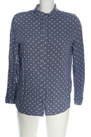 H&M Divided Langarmhemd blau-weiß Punktemuster Casual-Look