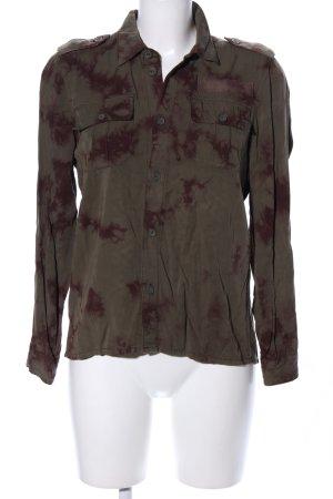 H&M Divided Langarmhemd khaki-braun abstraktes Muster Casual-Look