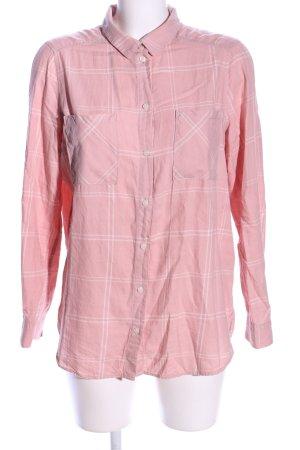 H&M Divided Langarmhemd pink-weiß Karomuster Casual-Look