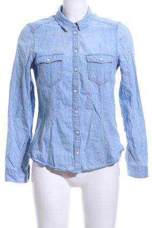 H&M Divided Langarmhemd blau Casual-Look