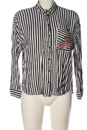 H&M Divided Langarmhemd weiß-schwarz Streifenmuster Casual-Look