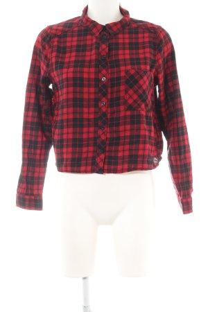 H&M Divided Langarmhemd schwarz-rot Karomuster Casual-Look