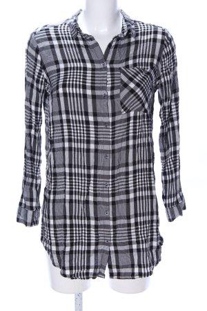H&M Divided Langarmhemd schwarz-weiß Karomuster Casual-Look