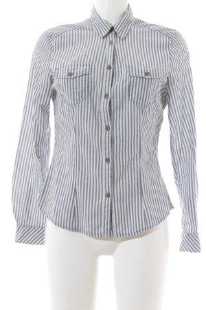 H&M Divided Langarmhemd wollweiß-graublau Streifenmuster klassischer Stil
