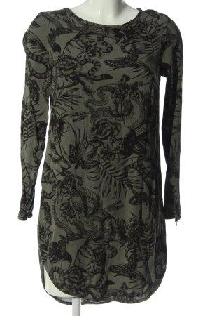 H&M Divided Langarmkleid khaki-schwarz Allover-Druck Casual-Look