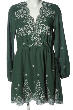 H&M Divided Langarmkleid grün-weiß Casual-Look