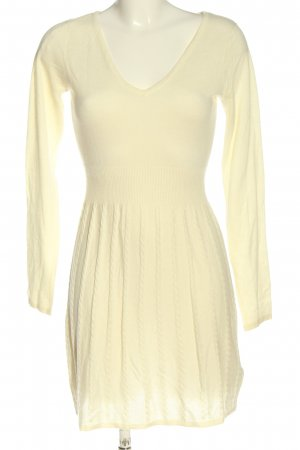 H&M Divided Langarmkleid creme Zopfmuster Casual-Look