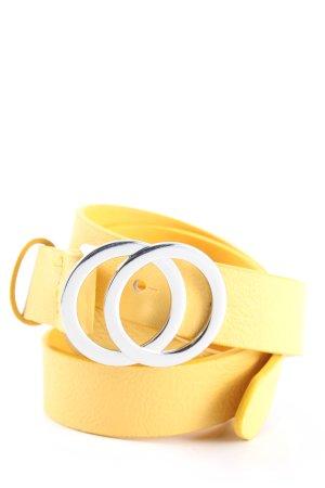 H&M Divided Cinturón de cuero de imitación amarillo pálido look casual