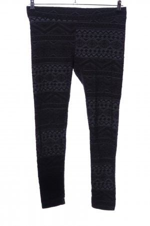 H&M Divided Leggings schwarz-hellgrau grafisches Muster Casual-Look