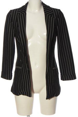 H&M Divided Long-Blazer schwarz-weiß Streifenmuster Casual-Look