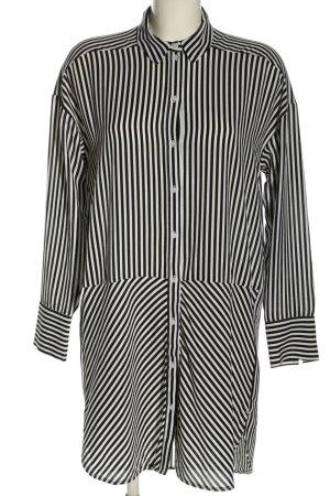 H&M Divided Long-Bluse weiß-schwarz Streifenmuster Casual-Look