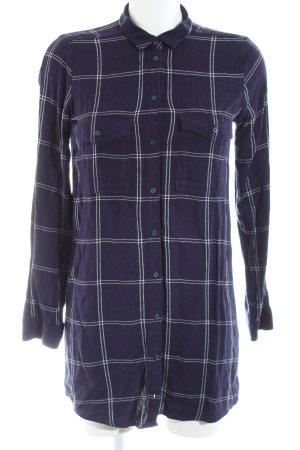 H&M Divided Long-Bluse blau-weiß Karomuster Casual-Look