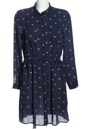 H&M Divided Blusenkleid blau-pink Motivdruck Casual-Look