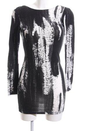 H&M Divided Longshirt schwarz-weiß abstraktes Muster Casual-Look