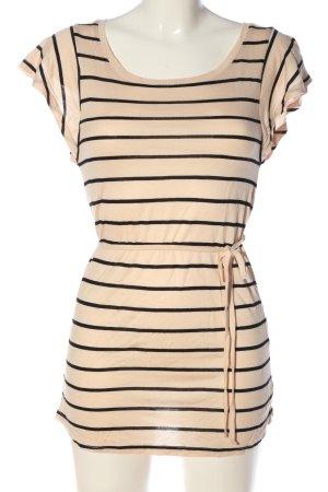 H&M Divided Longshirt creme-schwarz Streifenmuster Casual-Look