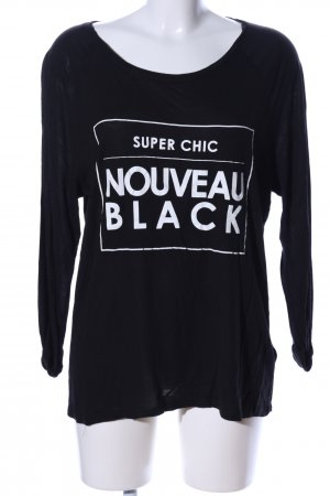 H&M Divided Longsleeve schwarz-weiß Schriftzug gedruckt Casual-Look