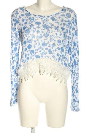 H&M Divided Longsleeve weiß-blau Blumenmuster Casual-Look