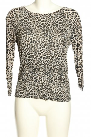 H&M Divided Longsleeve creme-schwarz Allover-Druck Casual-Look