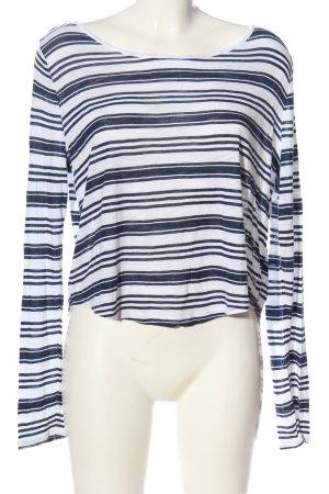 H&M Divided Longsleeve weiß-blau Streifenmuster Casual-Look