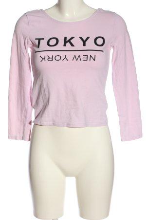H&M Divided Longsleeve pink-schwarz Schriftzug gedruckt Casual-Look
