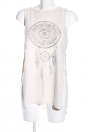 H&M Divided Long Top natural white-light grey themed print casual look