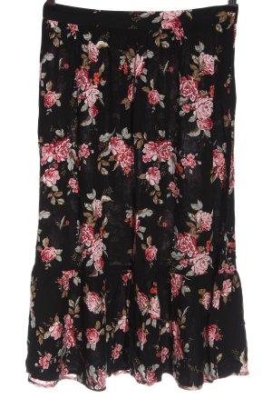 H&M Divided Spódnica midi czarny-różowy Na całej powierzchni Elegancki