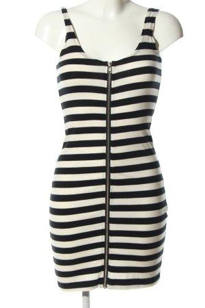H&M Divided Minikleid weiß-schwarz Streifenmuster Casual-Look