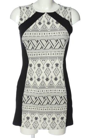 H&M Divided Minikleid weiß-schwarz grafisches Muster Casual-Look