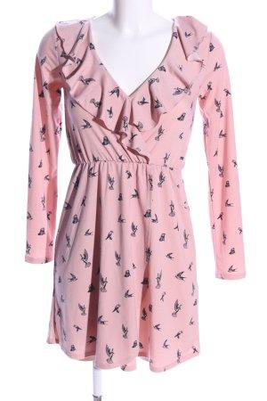 H&M Divided Minikleid pink-schwarz Allover-Druck Casual-Look