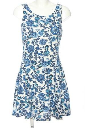 H&M Divided Minikleid weiß-blau Blumenmuster Casual-Look