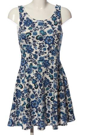 H&M Divided Minikleid blau-weiß Blumenmuster Casual-Look