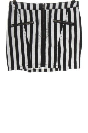 H&M Divided Minirock schwarz-weiß Streifenmuster Casual-Look