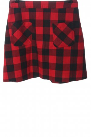 H&M Divided Minirock schwarz-rot Karomuster Casual-Look