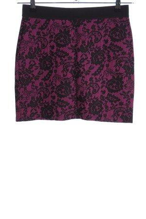 H&M Divided Minirock pink-schwarz Blumenmuster Casual-Look